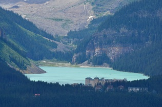 Zoomed in picture of the Fairmont and Lake Louise.