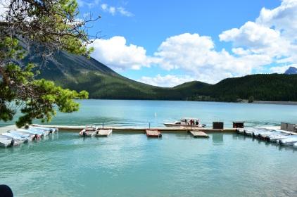 Lake Minnewanka boat dock...looks like a tropical island.