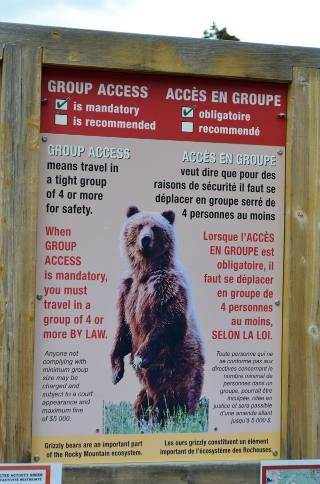 Must hike in groups of 4, or risk a fine of 5,000 Canadian dollars.