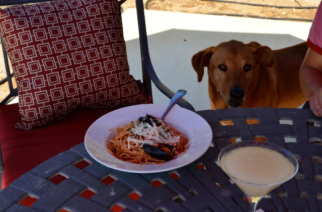 Had spaghetti and margarita for lunch/dinner.
