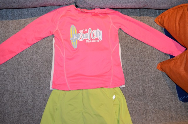 That's the Surf City Marathon tech shirt for the ladies.