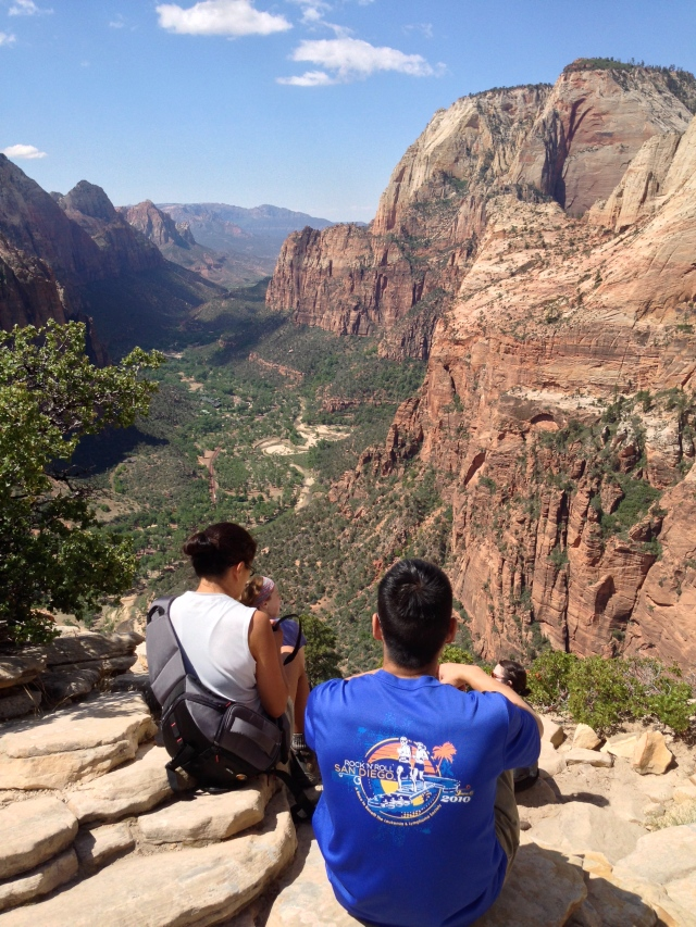 View of Zion Canyon atop Angels Landing.