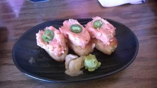 Spicy tuna on deep fried rice