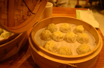 Famous Ding Tai Fung soup dumplings. Only the ones in Taiwan are authentic. All the other Ding Tai Fung's in the US are garbage.
