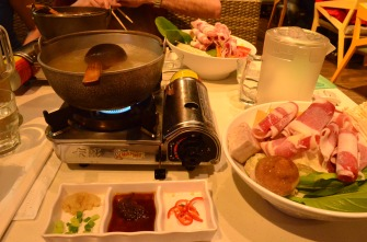 Hotpot in 86 degree weather - mom's idea of a great time.